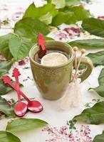 chá em uma caneca verde