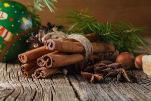 especiarias de natal, canela, anis