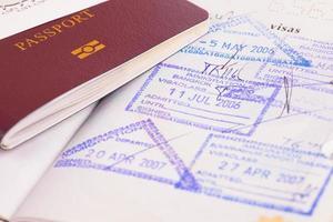 passaporte e carimbos da imigração foto