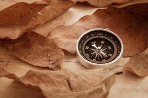 bússola e folhas secas em fundo de madeira velho, imagem filtrada