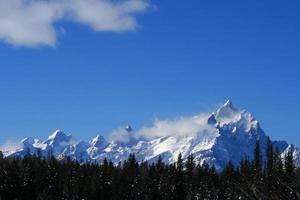grand tetons soprados pela neve
