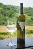 garrafa de vinho e um copo de vinho em um terraço no vinhedo.