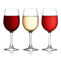 copo de vinho tinto, rosa e branco