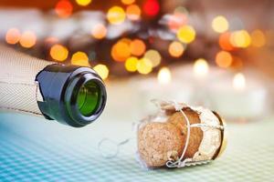 garrafa de champanhe rolha de vinho foto