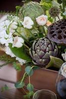 decorações de mesa suculentas colheita de outono foto