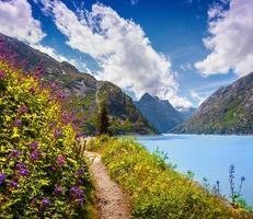 manhã de verão colorido no lago grimselsee. foto
