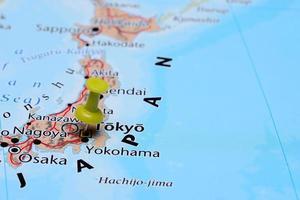 Tóquio fixado em um mapa da ásia
