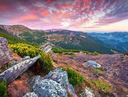 nascer do sol de outono colorido nas montanhas dos Cárpatos.