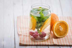 mistura de água com infusão de laranja, folha de hortelã e uva