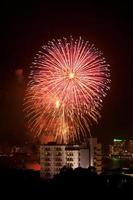 fogos de artifício explodindo em Pattaya, Tailândia