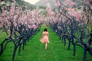 mulher curtindo a primavera em um campo verde com árvores florescendo foto