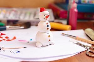estatueta de boneco de neve artesanal