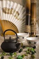 o bule chinês, duas xícaras, leque e bambu