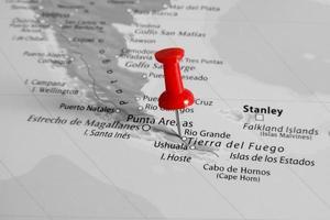 marcador vermelho sobre a patagônia