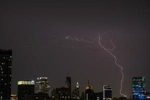 tempestade com raios sobre a cidade