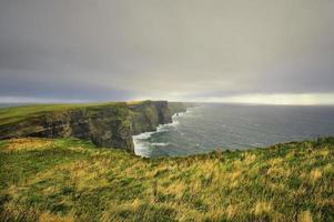 grama exuberante em penhascos de Moher na Irlanda foto