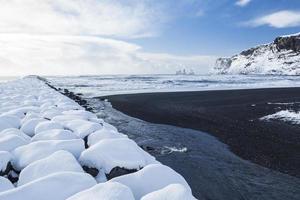 praia de areia preta de vik e cais