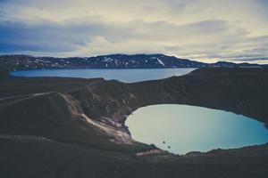 famoso vulcão islandês, cratera Askja no verão