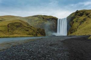 cachoeira skogafoss. Islândia. Exposição longa foto