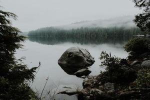 paisagem rochosa cercada por árvores