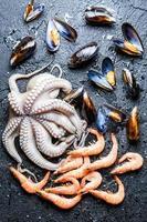 diferentes frutos do mar crus na rocha foto