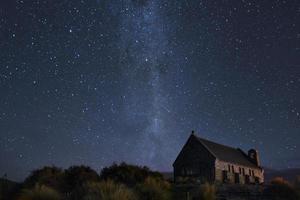 igreja de madeira marrom sob noite estrelada