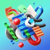 Composição de renderização de objeto 3D foto