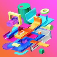 3D render composição de cores