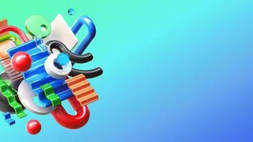 Composição de renderização colorida 3D