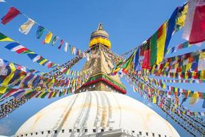 Bodhnath Stupa em Katmandu com olhos de Buda