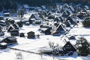 ponto de vista na vila de gassho-zukuri, shirakawago, japão foto