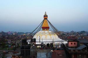 vista da estupa boudhanath em kathmandu, nepal