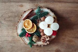 vista superior da decoração do feriado de inverno foto