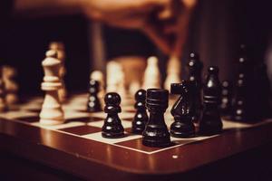 close-up de um tabuleiro de xadrez