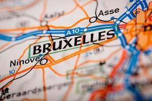 Cidade de Bruxelles em um mapa rodoviário foto