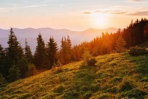 belo pôr do sol nas montanhas dos Cárpatos na Ucrânia.