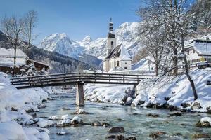 ramsau no inverno, berchtesgadener land, bavaria, alemanha