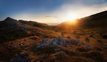 montanha rochosa e feno