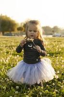 criança brincando com flor dente de leão na grama no campo