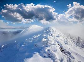 bela paisagem de inverno nas montanhas de nevoeiro foto