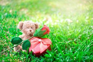 urso de pelúcia sentado com uma rosa vermelha e um coração