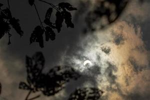 eclipse solar com nuvens