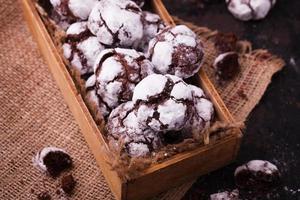 biscoitos de chocolate em açúcar de confeiteiro. foto