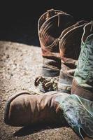 dois pares de botas de couro marrom