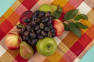 frutas sortidas em tecido xadrez