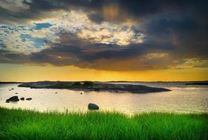 pôr do sol na costa de Gotemburgo