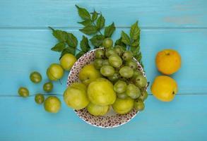 frutas em uma tigela sobre fundo azul