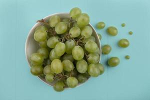 uvas em uma tigela sobre fundo azul foto