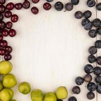 vista superior de frutas frescas