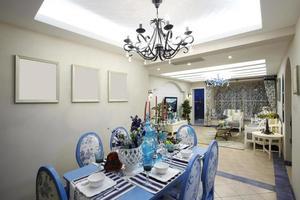 interiores de casa, sala de jantar em estilo mediterrâneo foto